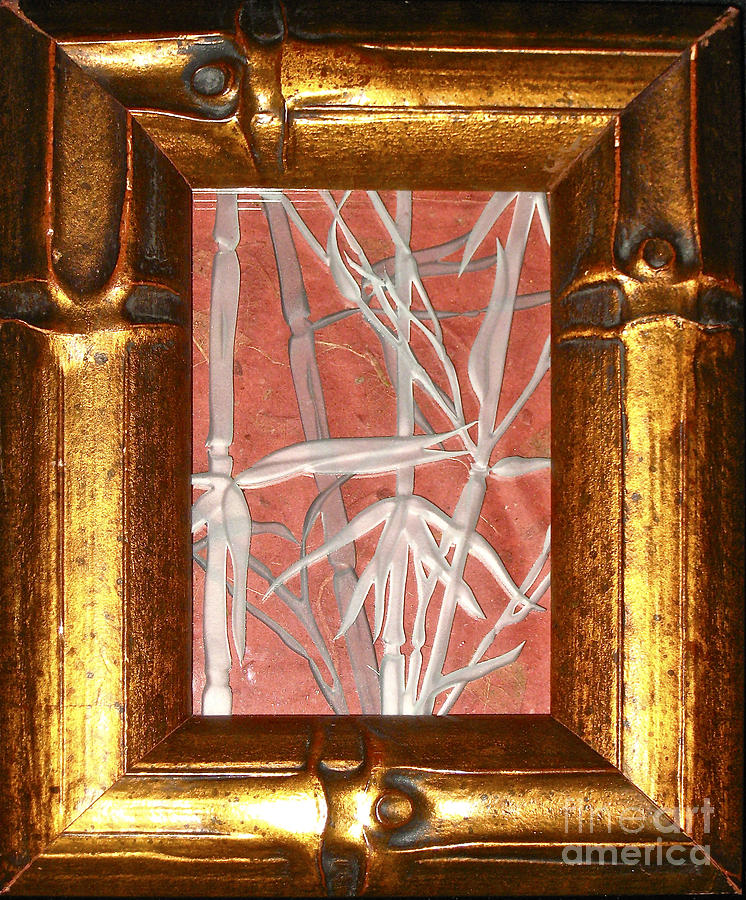 Red Glass Art - Golden Bamboo by Alone Larsen