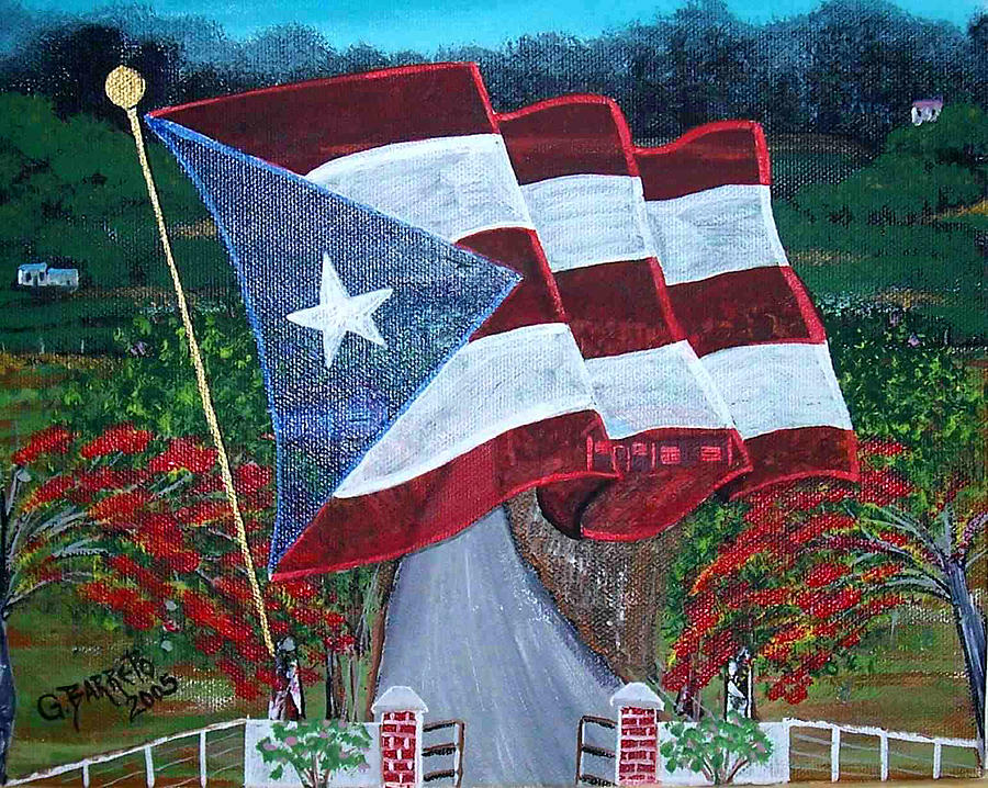 Puerto Rico Flag Painting - Bandera De Puerto Rico by Gloria E Barreto-Rodriguez