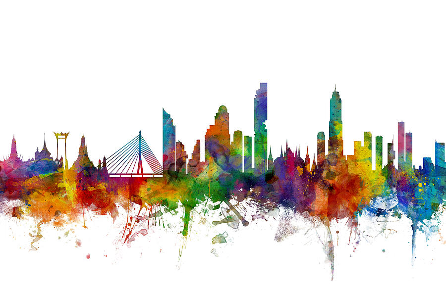 Watercolour Digital Art - Bangkok Thailand Skyline by Michael Tompsett