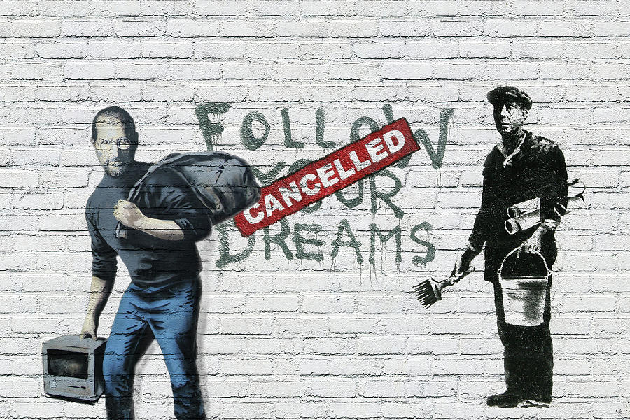 Banksy Photograph - Banksy - The Tribute - Follow Your Dreams - Steve Jobs by Serge Averbukh