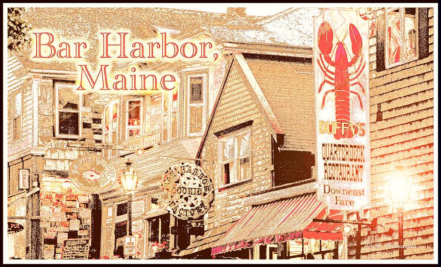 Bar Harbor Digital Art - Bar Harbor Maine Shops At Night by A Gurmankin