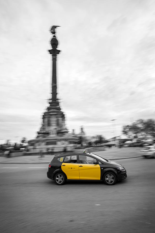 Taxi Photograph - Barcelona by David Ortega Baglietto
