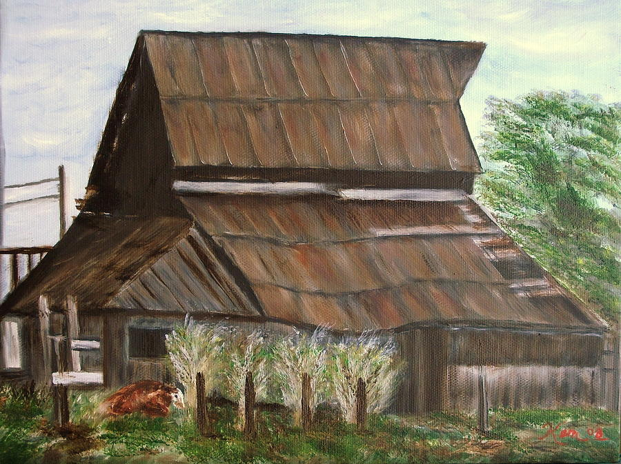 Barn and Cow Painting by Kenneth LePoidevin