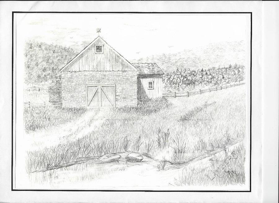 Barn Drawing by George Lambert