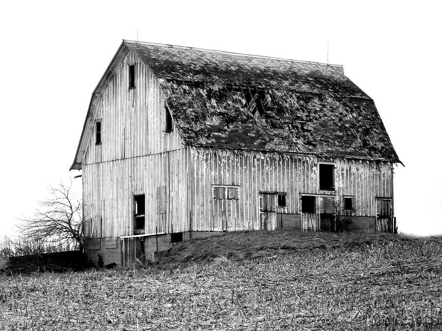 Barn Photograph - Barn On The Hill Bw by Julie Hamilton