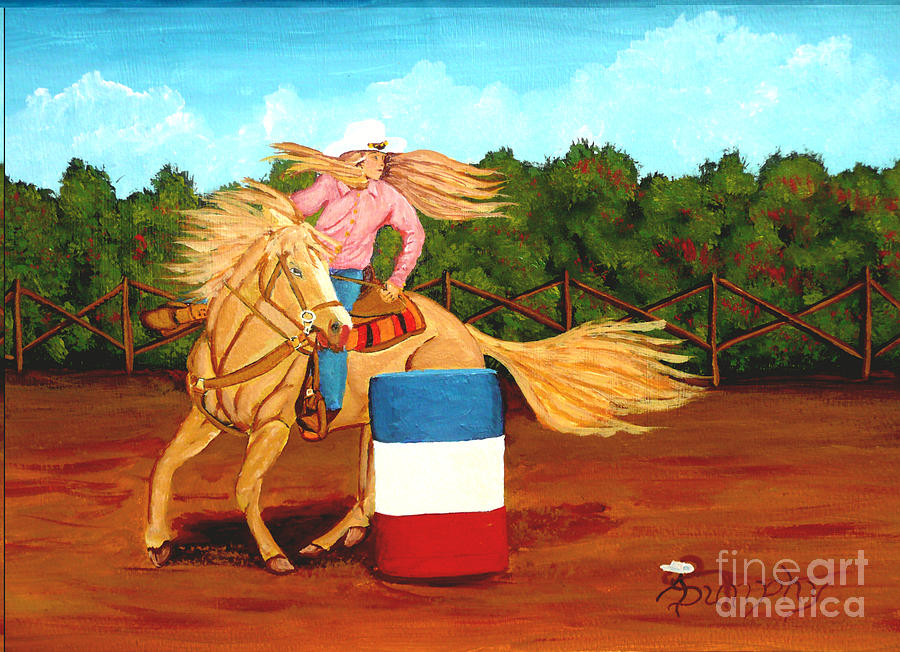 Rodeo Painting - Barrel Racer by Anthony Dunphy