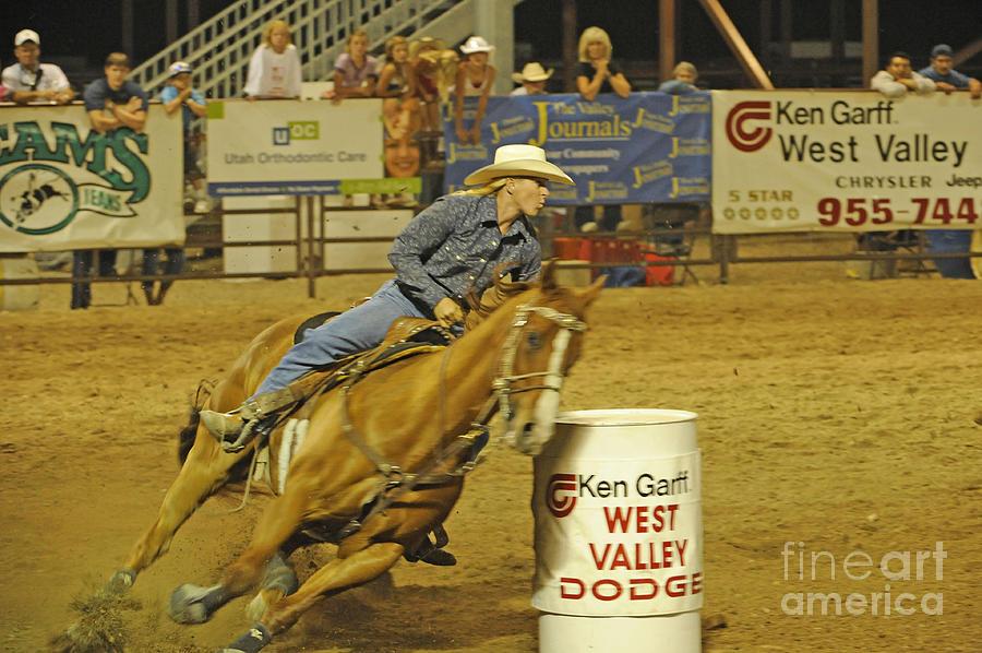 Horse Photograph - Barrel Racing by Dennis Hammer