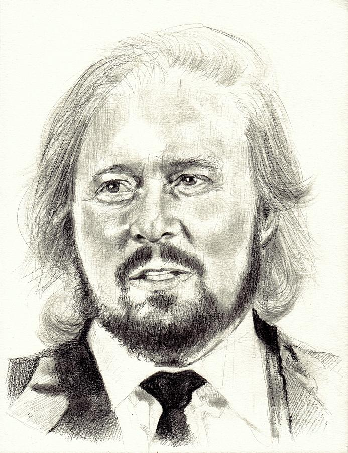 Gibb Drawing - Barry Gibb Portrait by Suzann Sines