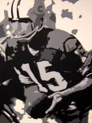 Football Painting - Bart Starr by Michael James Toomy