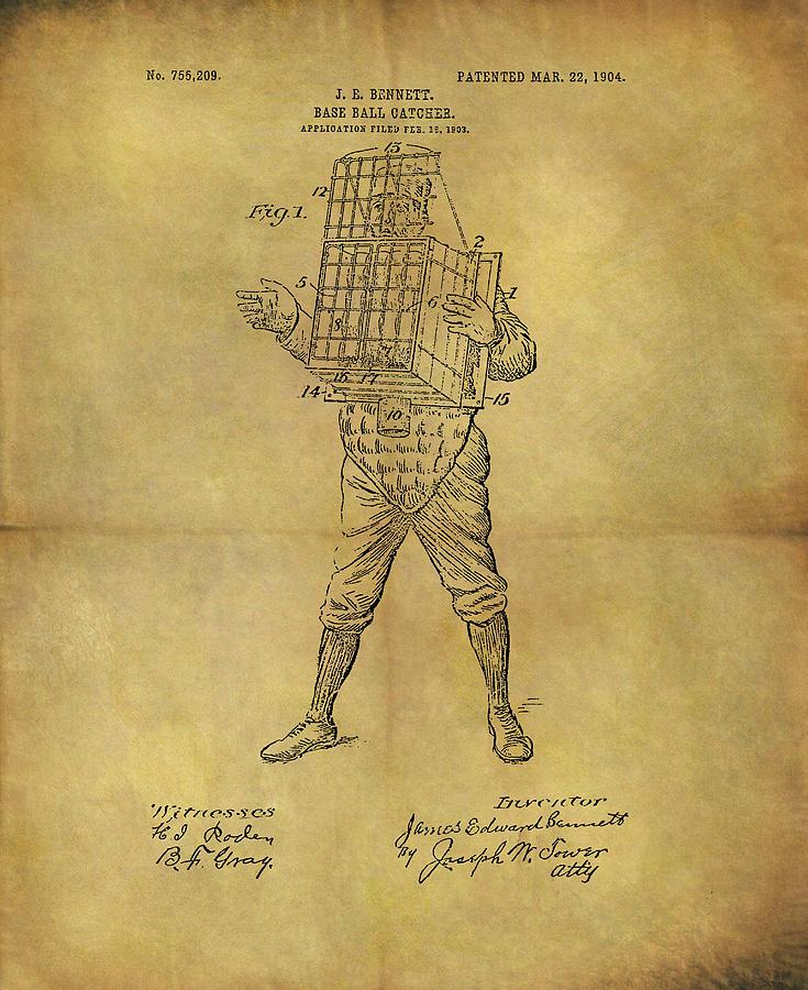Baseball Catchers Mask Patent Drawing By Dan Sproul