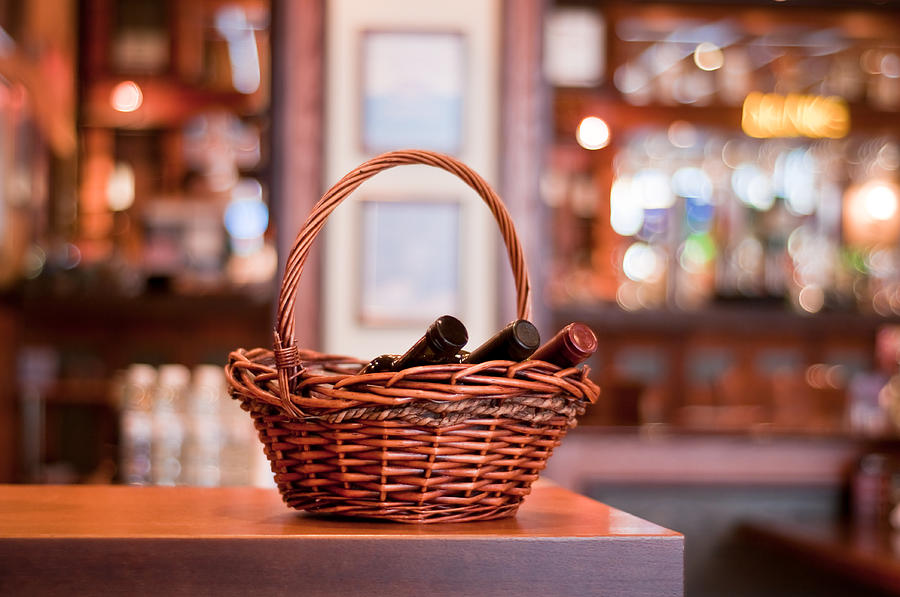 Drink Photograph - Basket With Wine Bottles by Boyan Dimitrov