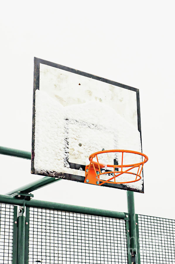 Backboard Photograph - Basketball Ring In The Snow by Tom Gowanlock