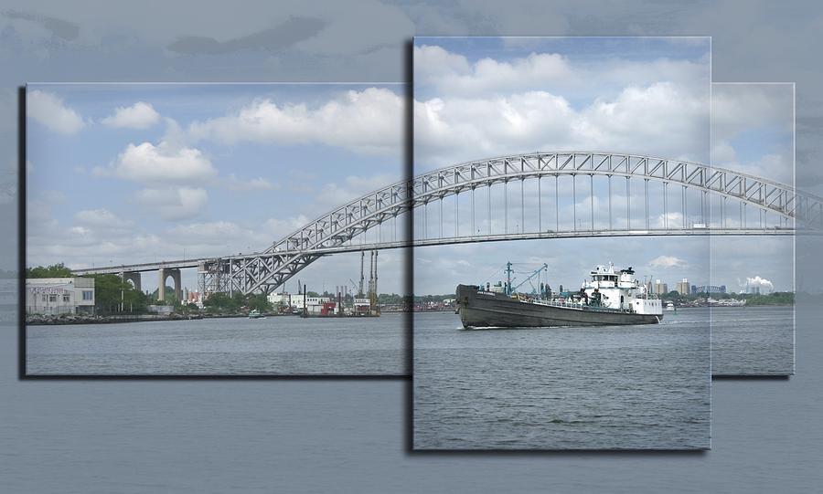 Bayonne Bridge Photograph - Bayonne Bridge And Boat by Richard Xuereb