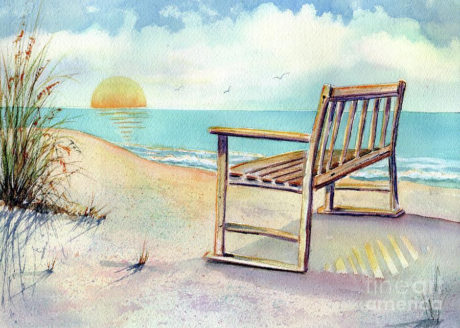 Beach Painting - Beach Bench by Midge Pippel