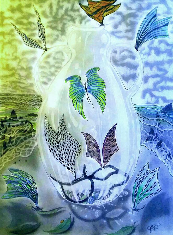 Beach Butterflies Mixed Media