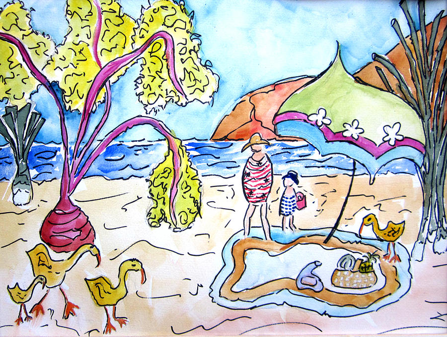 Beach Painting - Beach Picnic by Suzanne Stofer