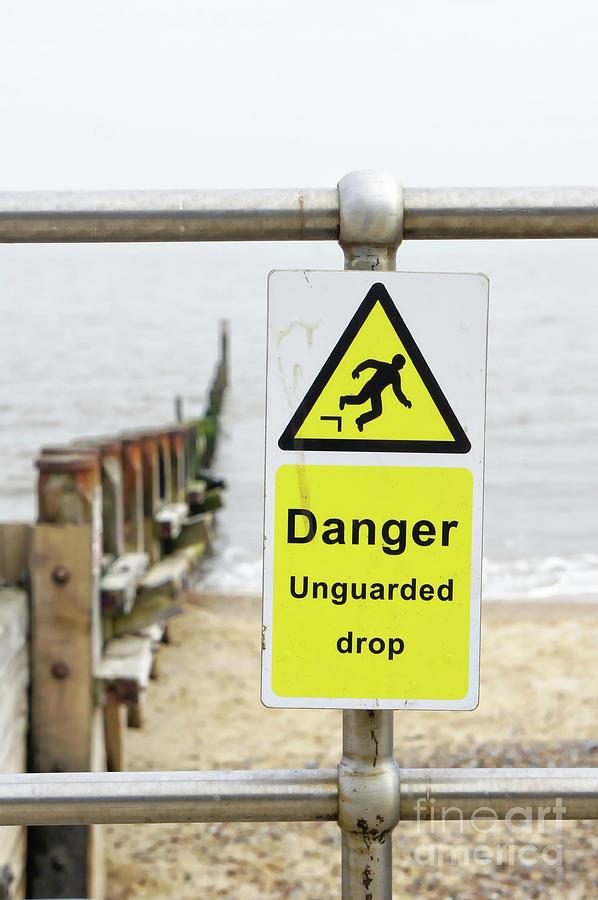Alert Photograph - Beach Warning Sign by Tom Gowanlock