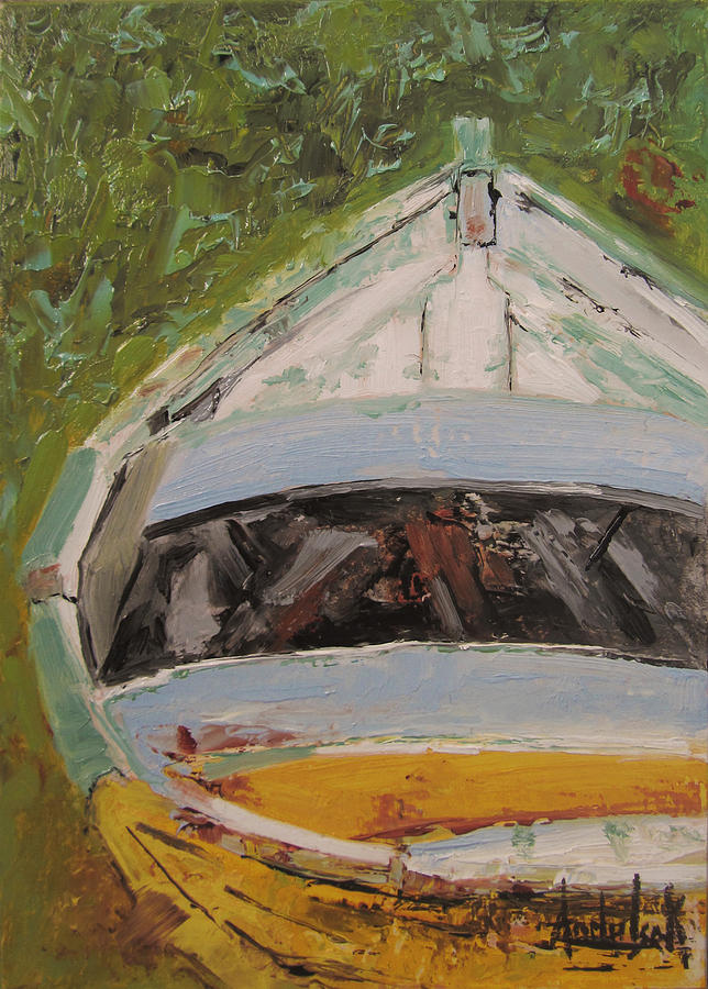 Boats Painting - Beached by Barbara Andolsek