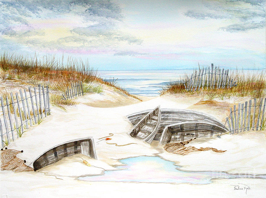 Beach Painting - Beached Boats by Pauline Ross