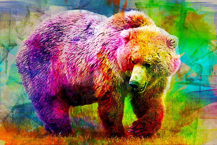 Bear Digital Art - Bear by Elena Kosvincheva