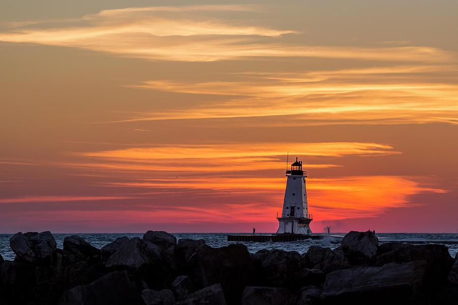 Beautiful Ludington Lighthouse Sunset by Adam Romanowicz