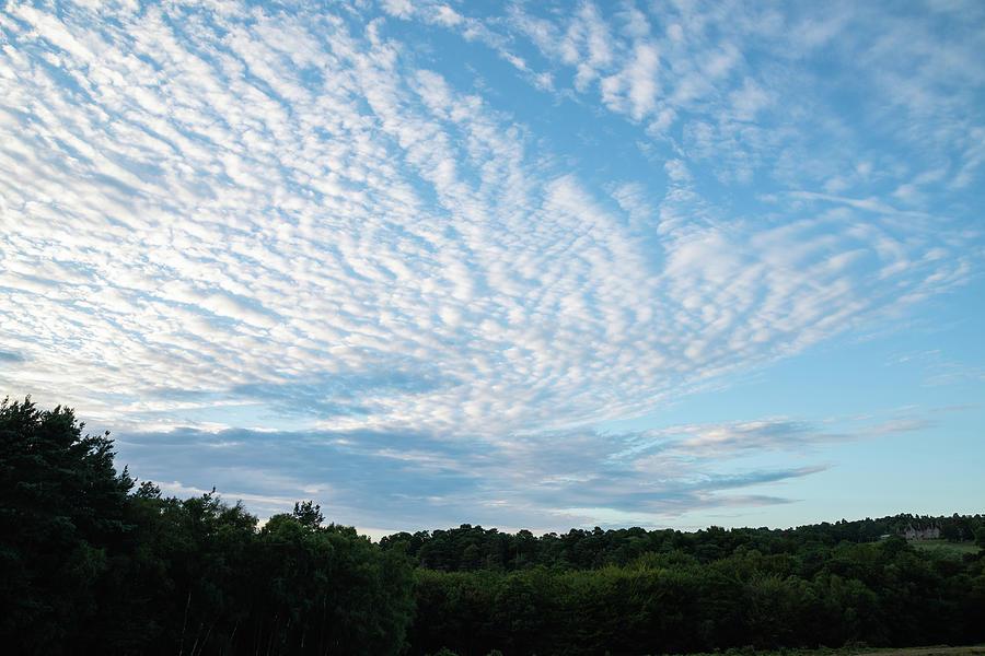 Landscape Photograph - Beautiful Mackerel Sky Cirrocumulus Altocumulus Cloud Formations 1 by Matthew Gibson