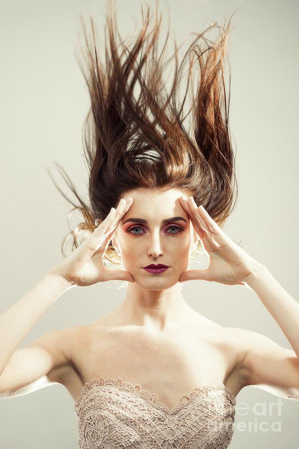 Make Up Photograph - Beautiful Woman With Windswept Hair by Amanda Elwell