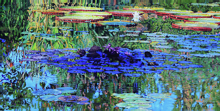 Garden Pond Painting - Beauty And Peace by John Lautermilch