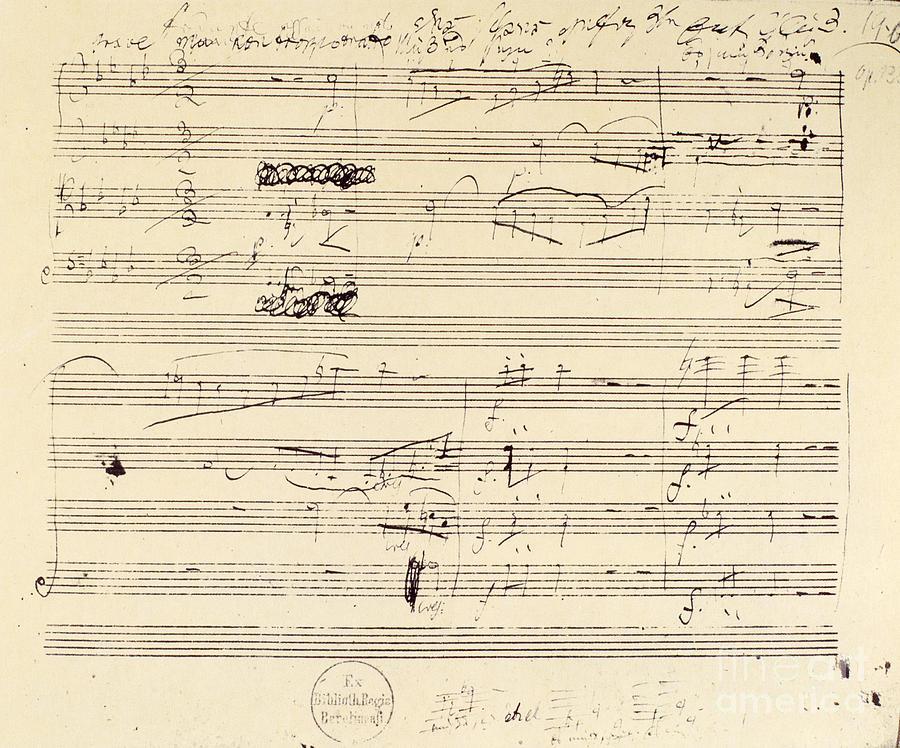 1826 Photograph - Beethoven Manuscript, 1826 by Granger