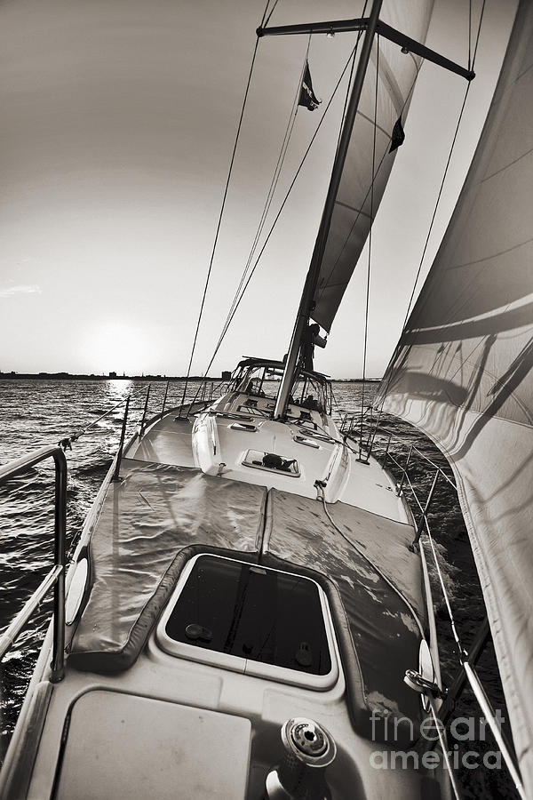 Beneteau 49 Sailing Yacht Close Hauled Charleston Sunset Sailboat Photograph by Dustin K Ryan