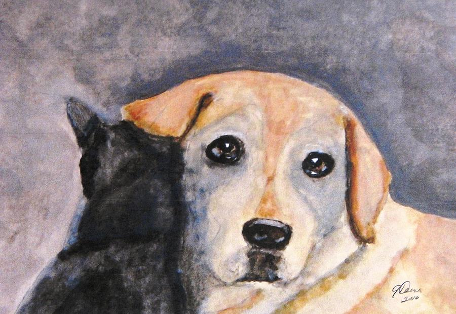 Yellow Labs Painting - Best Friends by Angela Davies