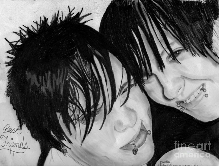 Portrait Drawing - Best Friends by Zecky Langner