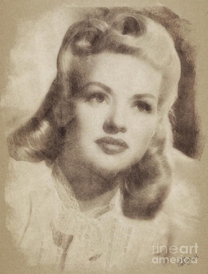 Betty Grable Vintage Hollywood Pinup Drawing