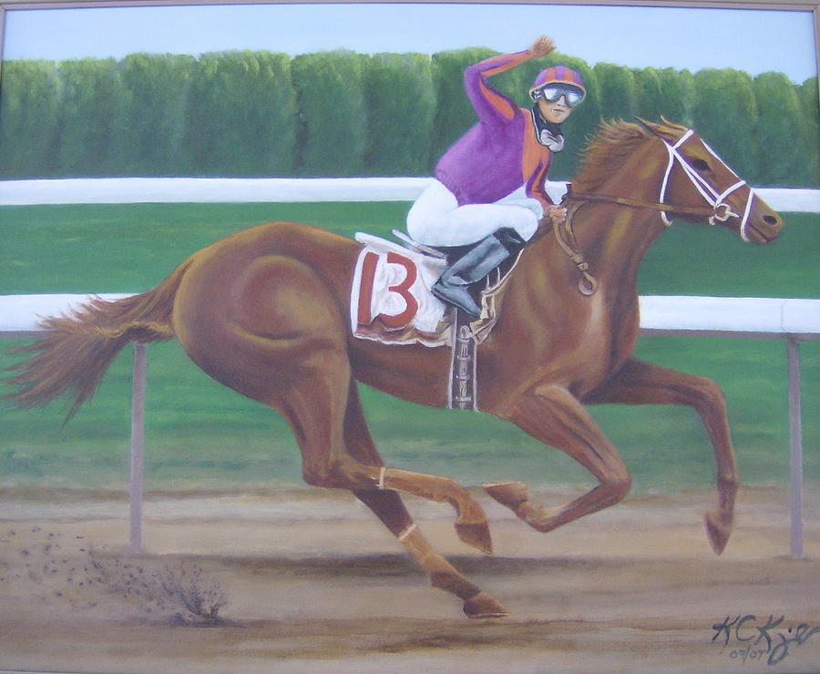 Racehorse Painting - Big Red by KC Knight