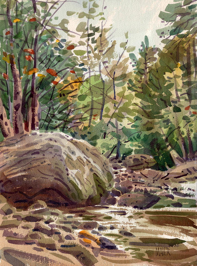 Boulder Painting - Big Rock At Sope Creek by Donald Maier