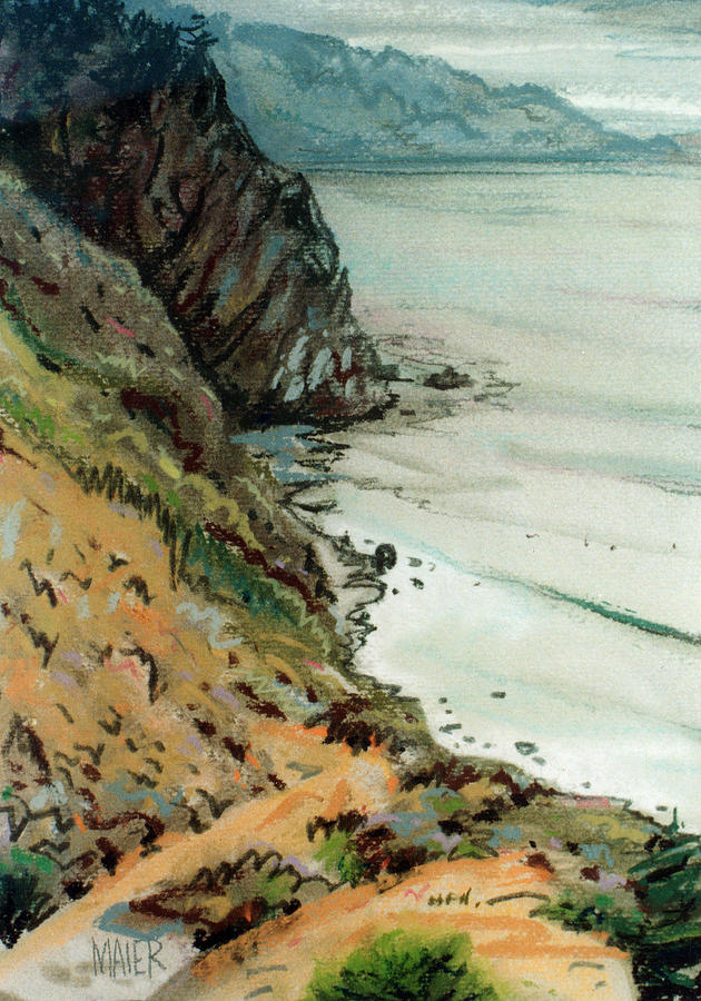 Big Sur Drawing - Big Sur California by Donald Maier