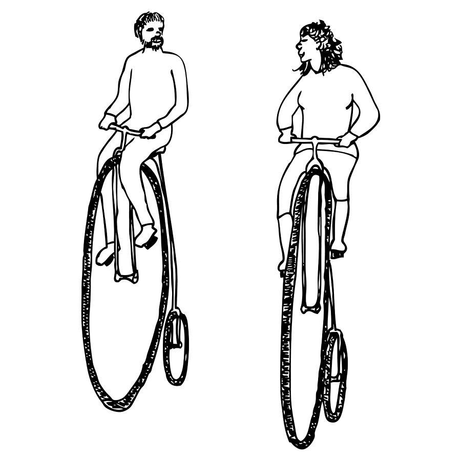 Drawing Drawing - Bike Buddies by Karl Addison