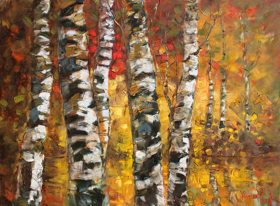 Birch Trees In Golden Fall Painting By Ylli Haruni