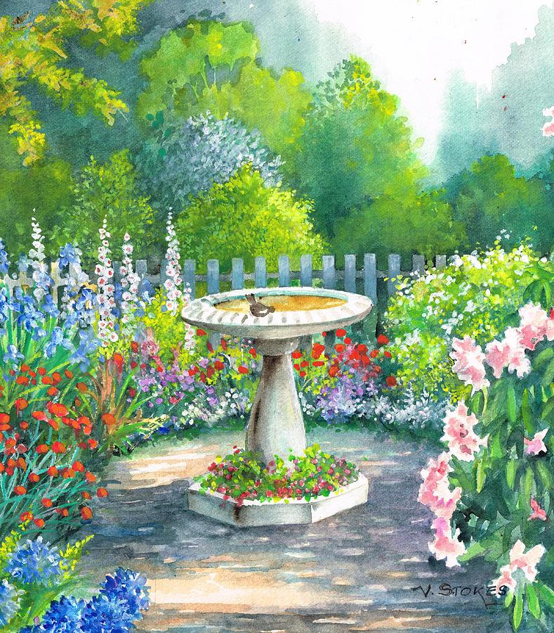 Hydrangeas Painting - Bird Bath by Val Stokes
