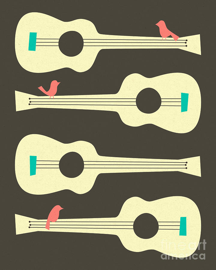 Birds Digital Art - Birds On Guitar Strings by Jazzberry Blue