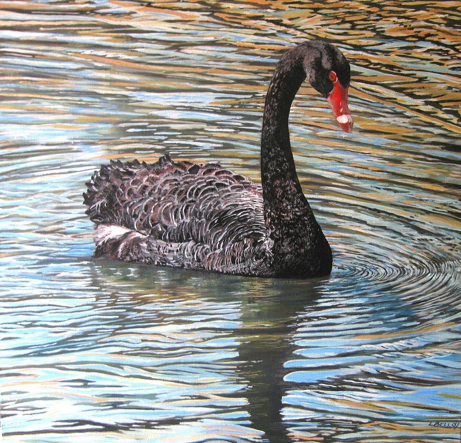 Black Swan Painting - Black Swan On Water by Leonie Bell