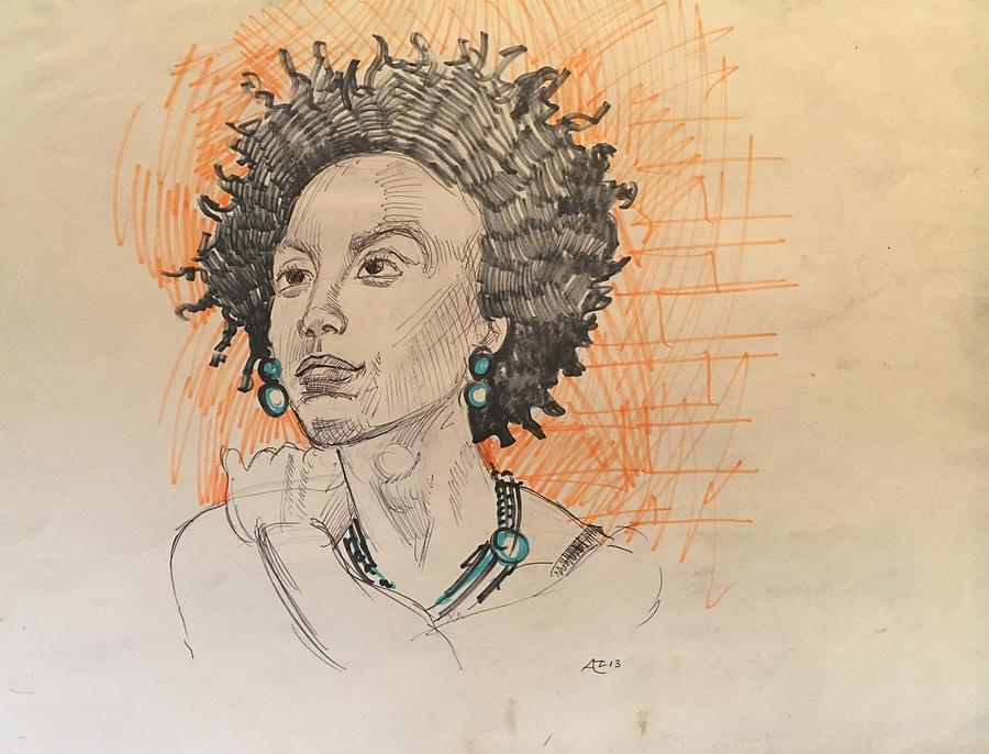 Black Woman 1 Drawing by Alejandro Lopez-Tasso