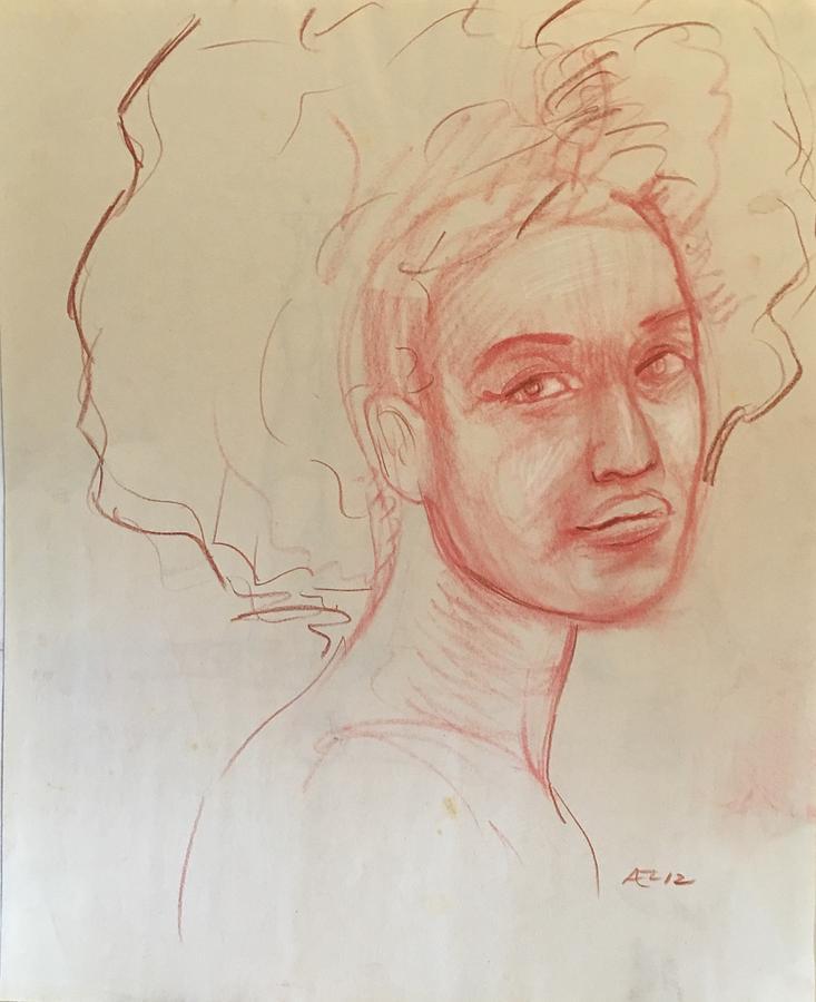 Black Woman 2 Drawing by Alejandro Lopez-Tasso