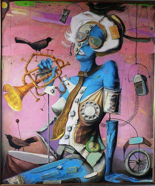 Blackbirds And Woman Painting by Vakho Kakulia