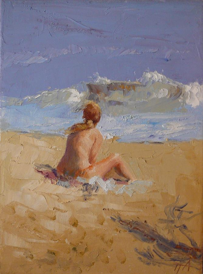 Seascape Painting - SOLD Blonde on Beach II by Irena  Jablonski