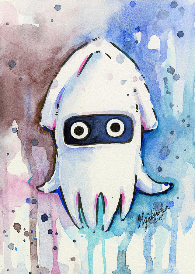 Mario Painting - Blooper Watercolor by Olga Shvartsur