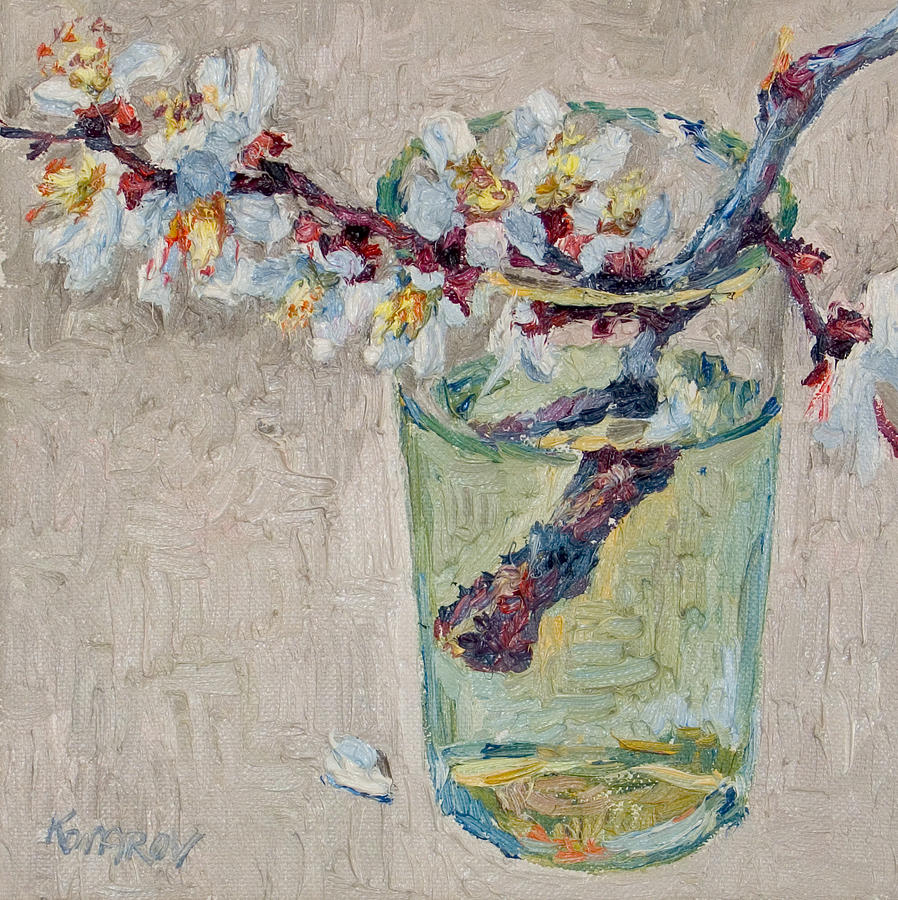 Blossoming Painting - Blossoming Branch In A Glass by Vitali Komarov