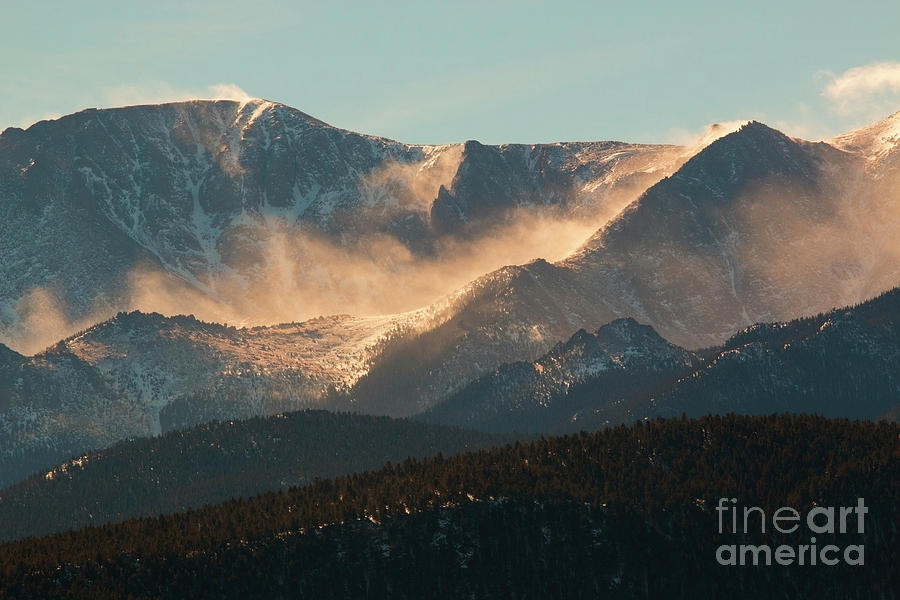 Blowing Snow On Pikes Peak Colorado Photograph