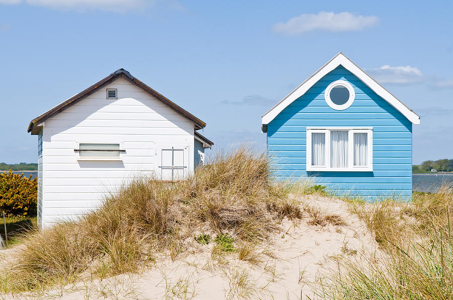 Blue and White Beach Huts by Mick House
