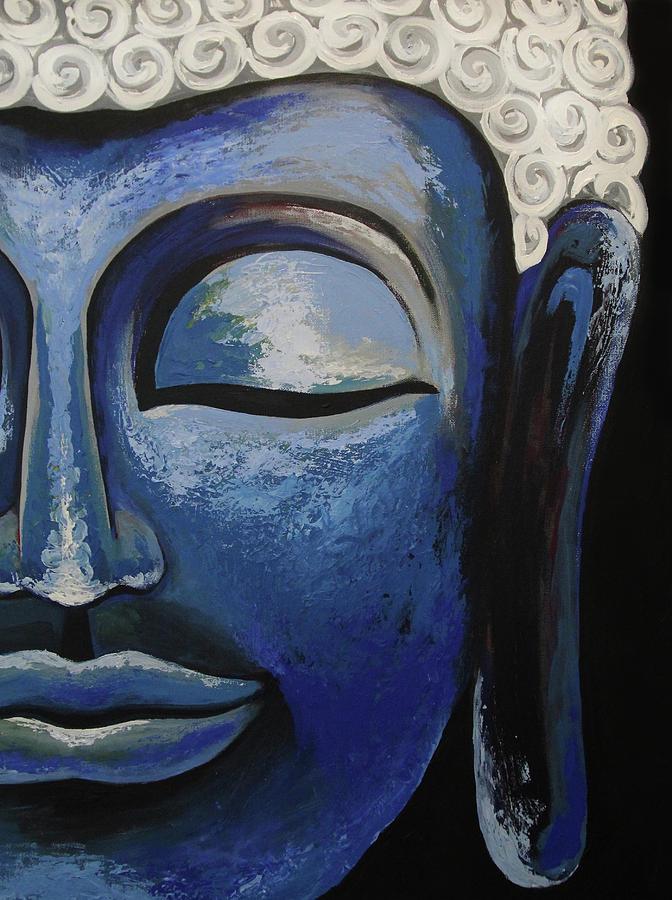 Spirit Painting - Blue Buddha by Allison Liffman